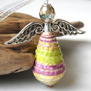 Handmade Upcycled Paper Bead Angel Ornament